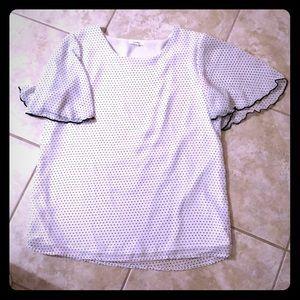 Pleione black and white polka dot blouse
